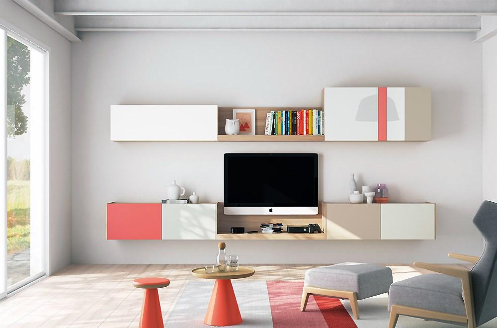 Salones modernos con colores for Mueble salon minimalista