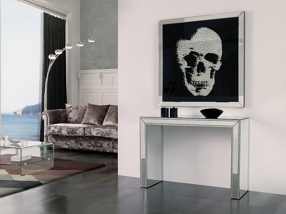 cuadro con marco de espejo e imagen de cristal