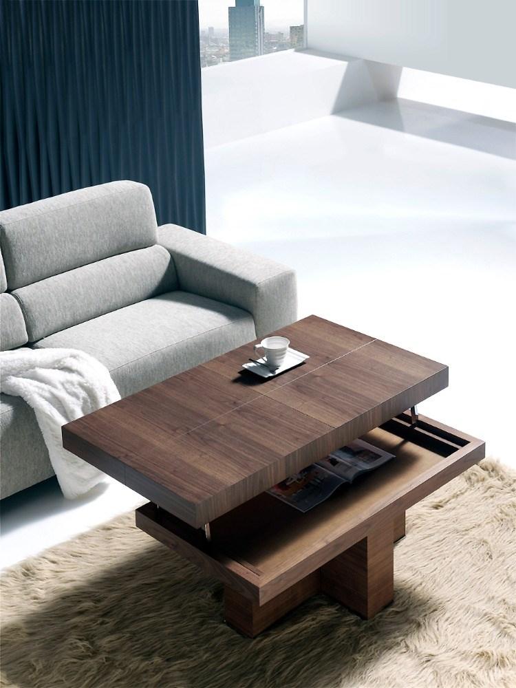 Mesa de centro elevable de madera for Mesas de centro italianas